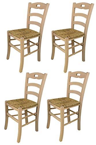 Tommychairs - Set 4 sillas Savoie para Cocina y Comedor, Estructura en Madera de Haya lijada, no tratada, 100% Natural y Asiento en Paja