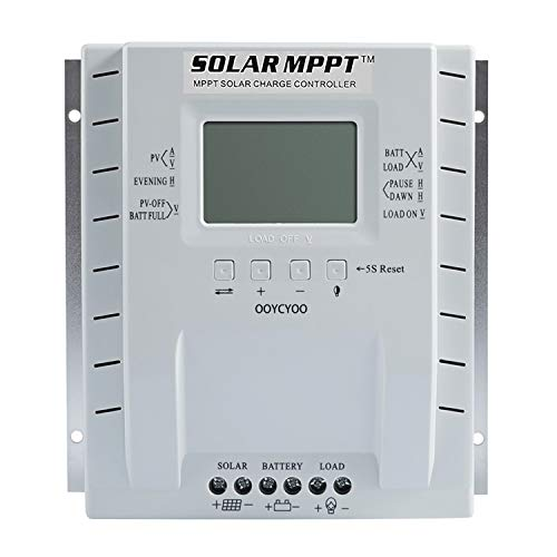 OOYCYOO MPPT Solar Controller 60A Automatic 12V/24V, LCD Display Maximum Input 100VDC, Suitable for Lithium Batteries, Gel Batteries (AGM), Lithium Iron Phosphate Ternary Lithium Batteries (P60A