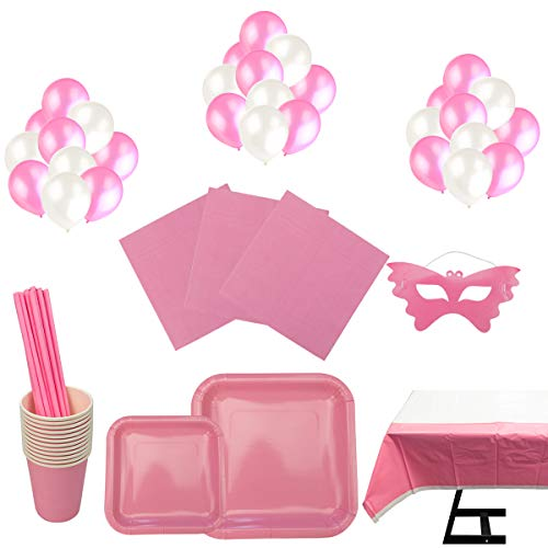 Cotigo-Set Vajilla Cumpleaños Kit de Articulo Fiesta para 16 Liso Color Rosa