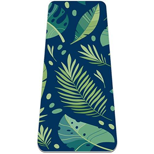 BestIdeas Esterilla de yoga verde tropical para yoga, pilates, ejercicio de suelo para hombres, mujeres, niñas, niños, principiantes, diseño antideslizante