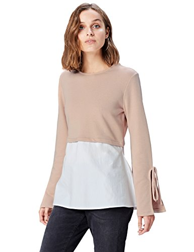 Amazon-Marke: find. Damen Langärmeliges T-Shirt mit rundem Ausschnitt, Rosa (Blush), 44, Label: XXL
