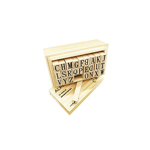 Letter Stamps for Clay,Letter Wood Rubber Stamp New (26 Letters)