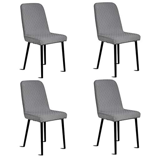 Silingsan Fundas para sillas Pack de 4, Funda para Silla Elástica Funda de Silla Jacquard para Asiento Extraíble y Lavable para Hotel, Ceremonia, Restaurante (Paquete de 4, Gris)