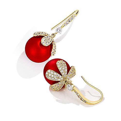 Mode Frauen Ohrringe Rot Ball Drop Baumeln Ohrringe Künstliche Perle Blume Ohrringe Schmuck Für Geburtstag/Party/Weihnachten Geschenke