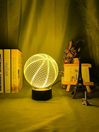 Acrylic Night Light 3D Illusion Night Lamp Basketball Ball Hologram for Room Decor Unique Gift for Student Bedroom Night Light