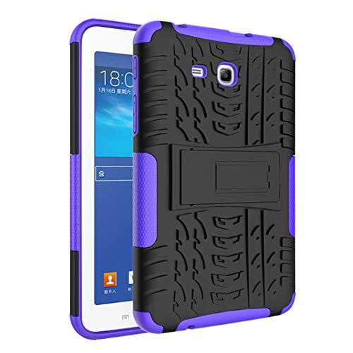 SZCINSEN Funda para tablet Samsung Galaxy Tab 3 Lite/Tab 4 Lite /T110/T113 con textura de neumáticos a prueba de golpes TPU+PC Funda protectora con asa plegable (Color: Púrpura)