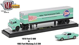 M2 Machines New 1:64 AUTO-HAULERS Release 23 - Green 1970 Ford C-500 & 1965 Ford MUSTNAG 2+2 289 Diecast Model Car