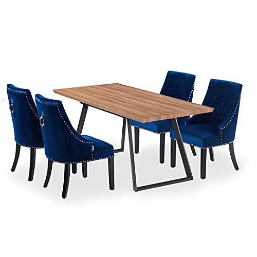 Life Interiors: Toga & Windsor - Juego de 4 sillas de comedor, moderna mesa de comedor extensible   diseño moderno de patas   silla de comedor de terciopelo vintage   (marrón y negro y azul real)