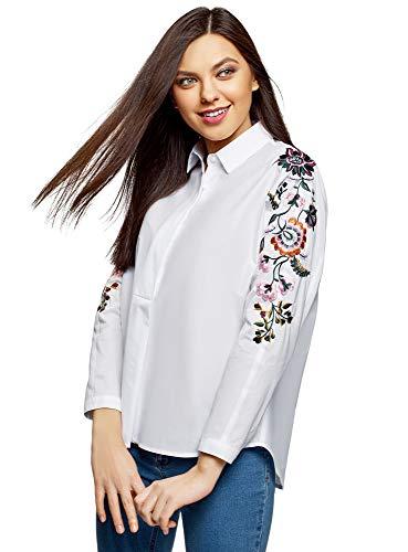 oodji Ultra Damen Baumwoll-Bluse mit Stickerei, Weiß, DE 32 / EU 34 / XXS