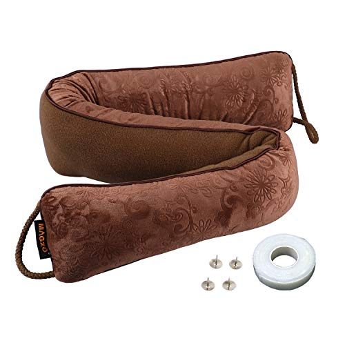 MAGZO Door Pillow Draft Stopper 32in Length, Weighted Brown Door Draft Stopper Wind Proof Air Stop Great for Saving Energy