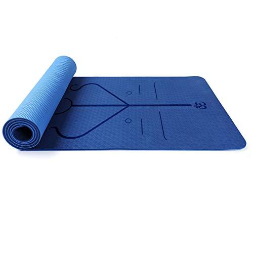 WYGH Yogamatten rutschfeste Breite 80 cm, Pilates-Fitnessmatte in Premium-Qualität, zweifarbige, geruchlose Trainingsmatte, zweischichtiges Design, Dicke 6/8 mm,Deep Blue-6 mm