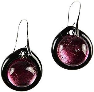 Pendientes de cristal sumergido, color violeta, cristal de Murano original OMG