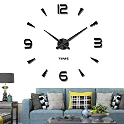 Vangold Decorative DIY Wall Clock Frameless Wall Clock with 3D Mirror Large Number for Living Room/Bedroom/Home Wall Decorations