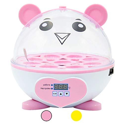 Huatuo Incubadora de 9 huevos, control automático de temperatura digital mini eclosión de huevos automático de control de temperatura para pollos, patos, pájaros, color rosa