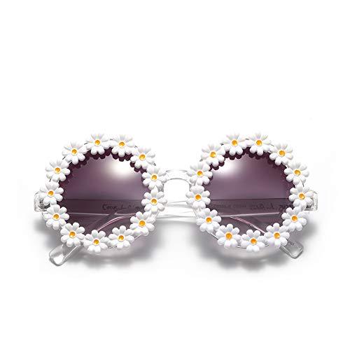Ainsintsy Gafas de Sol de Flores Resina Gafas de Sol con Montura Moda Tendencia Marco Espejo Anti reflejante UV400