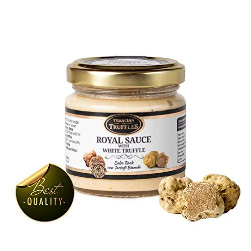 White truffle sauce ? ROYAL ? Witte truffelsaus Tuber borchi en Tuber Magnatum Pico met Room en Kaas, Ideaal voor Vlees, Gegrild Brood, Omeletten, Pasta, Risotto, Sushi 80g