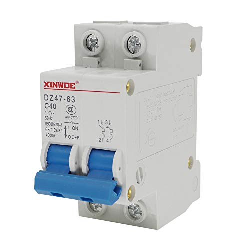 VictorsHome Miniature Circuit Breaker Low-Voltage DZ47-63 2 Pole 40A 400V DIN Rail Mount C40