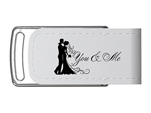 Mariage Clé USB 8GB. En Similicuir Blanc