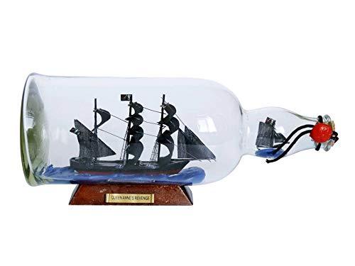 Hampton Nautical Blackbeard's Queen Anne's Revenge Model Ship in a Glass Bottle 11' - Famous Pir