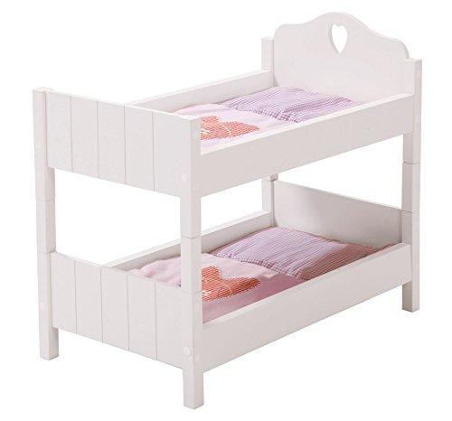 """Cama de muñecas roba, coleccion de muebles para muñecas """"Fairytale"""", cama de muñecas divisible, lacada en blanco, accesorios para muñecas con textiles."""