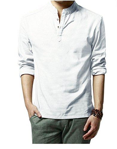 HOEREV Shirts pour hommes occasionnels à manches longues,Blanc,XL Poitrine 102-106cm