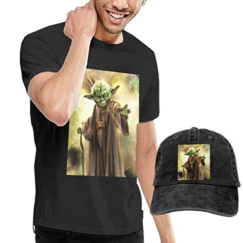 Tengyuntong sunminey Homme T- T-Shirt Polos et Chemises This is The WA-Y Yoda Mens Loose Short Sleeve T-Shirt with Cowboy Hat Set