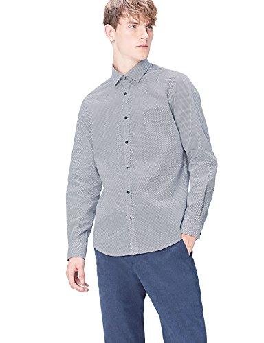 Marchio Amazon - find. Camicia Uomo, Blu (Navy Geo), L, Label: L