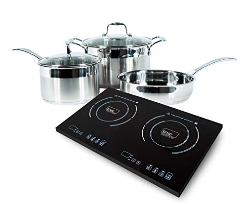 True Induction 2 burner portable cooktop with 5 pc induction cookware