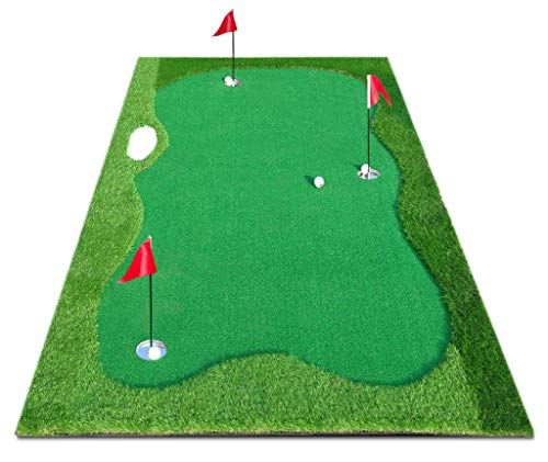 XENBEY Pro Golf Putting Green Mat Indoor Outdoor Large Golf Putting Mat System Golf Training Aid Practice Putter Mat for Home Office Backyard Use (5 by 10ft)