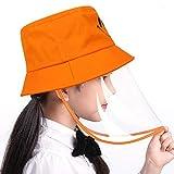 WonderBabe 漁師帽 キッズ 帽子 アウトドア 日よけ サンハット つば広い 子供用帽子 UVカット 紫外線対策 折りたたみ 携帯便利 飛沫防止 花粉症対策 防塵 女の子 男の子 (オレンジ)