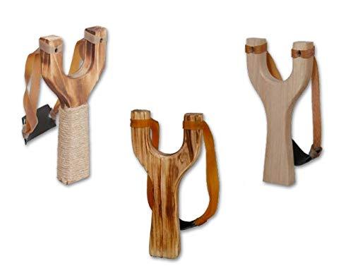 GERILEO Lote de 3 Tirachinas de Juguete clásicos de Madera - Tres Distintos diseños - Juguete de Madera