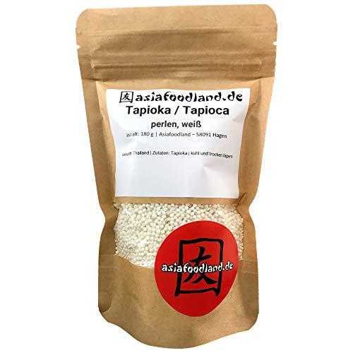 Asiafoodland - Tapioka / Tapioca - Perlen - weiß - hochwertig - für Pudding und mehr, 1er Pack (1 x 180g)