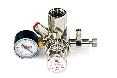 Hiwi Druckminderer CO2 Mehrweg fest verbauter Adapter z.B. für Sodastream Zylinder o.a. Arbeitsdruckmanometer Aquarium 1 Manometer mit Rückschlagventil
