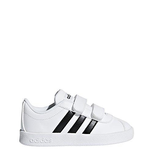 adidas Baby Unisex Vl Court 2.0 Cmf Skate Shoe, White/Black/White, 10 Toddler US