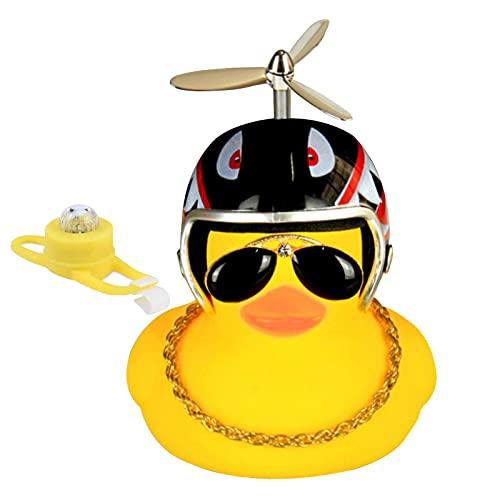 Pequeño Pato Amarillo decoración de Coche, Cortavientos con Casco, Accesorios de Coche, Juguete de Pato de Goma para Coche, Motocicleta, Bicicleta de montaña