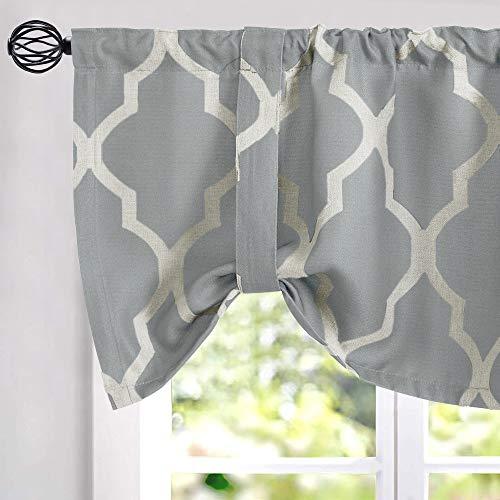 "Tie Up Valance Moroccan Tile Print Curtain Valance Bedroom Curtain Quatrefoil Flax Linen Blend Textured Geometry Lattice Rod Pocket Window Treatment Set Living Room 1 Panel 18"" L Grey"