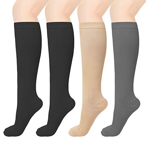 MELERIO Compression Socks for Men & Women Circulation 15-30 mmhg (4 Pairs) Muticolor 3, S/M