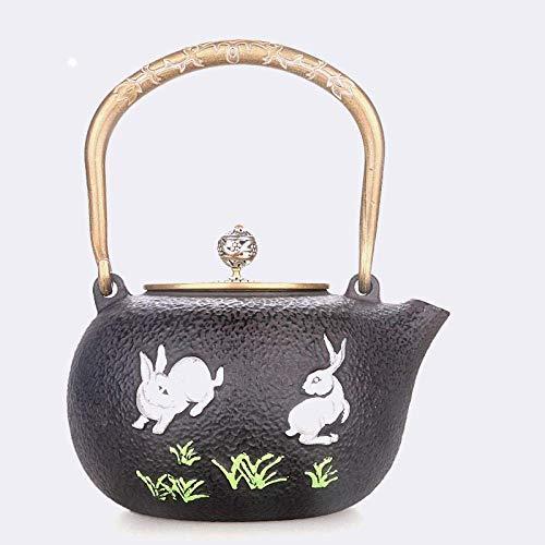 BINGFANG-W café Juegos de té Cast Iron Rabbit Caldera 1400ml Hierro Hierro Jade Color Pot Ese Hierro Viejo Pot Hervido Caldera de té sin revestir Botella Hierro Juegos de té