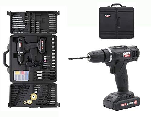 Mylek 18V Cordless Drill Electric Driver Set DIY Kit, 1500mAh Li-Ion, Variable Speed, LED Light,...
