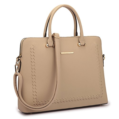 """MATERIAL: Vegan (PU) leather with grainy texture, structured, can stand on its own in shape, fully-lined with fabric. DIMENSION: 15.5""""W x 11.5""""H x 3.5""""D. Handle drop: 4.2"""". Shoulder strap 48"""", detachable and adjustable. Can fit laptop up to 14"""". DESI..."""
