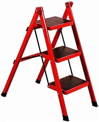 Escalera del Taburete Silla for Adultos del hogar Escalera Plegable heces Espesado tubería de Hierro Pedal Escalera Cubierta de Asiento de Banco de Tres Escalera Plegable heces