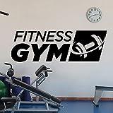 ONETOTOP Fitness Gym Logo Tatuajes de Pared Deportes con Mancuernas Vinilo decoración Interior Pegatina Art Deco Mural extraíble Cartel de Pared 129x42cm