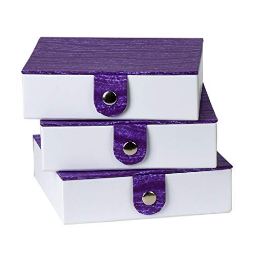 """Purple Gift Box with Snap Closure (3 Pack) - 5.9""""X5.9""""X1.8"""" Jewelry Box, Storage Display Organizer Cardboard Chrome Button Boxes Best for Birthday, Anniversary, Wedding Gifts"""