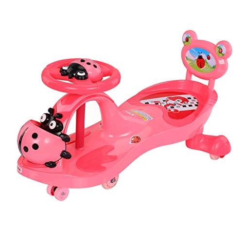 Voiture de Torsion pour Enfants 1-3 Ans Baby Caster Swing Car Flash Scooter Roue Muet avec Music Yo Car FANJIANI (Couleur : Cherry Blossom Powder, Taille : B)