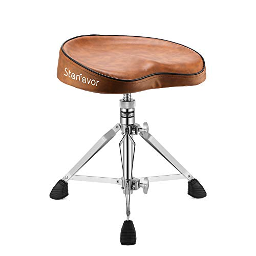 Starfavor Drum Throne Padded Drum Seat Chair Stool, Height Adjustable Double Braced Rotatable for Drummers, Percussion, Keyboard, Piano Players, Brown