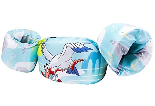 Qshare-アームリング 子供用 腕 浮き輪 軽量  幼児 プール 2〜6歳 パドルジャンパー 水着型救命胴衣 便利 ライフジャケット 浮き輪 強い浮力 水泳練習用具 水遊び スイミング 補助具 男女兼用 フリーサイズ 専用収納袋付き (カモメ)