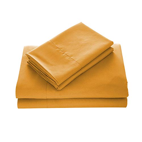 WAVVA Bedding Luxury 4-Pcs Bed Sheets Set- 1800 Deep Pocket, Wrinkle & Fade Resistant (Queen, Inca Gold)