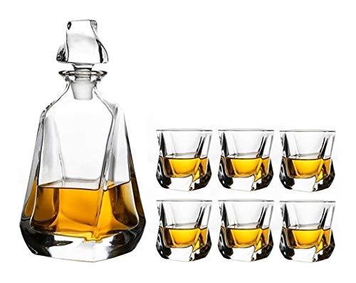 DYB Juego de decantador de whisky de 7 piezas, jarra de licor premium de 750 ml con 6 vasos de 320 ml para whisky o bourbon apto para lavavajillas