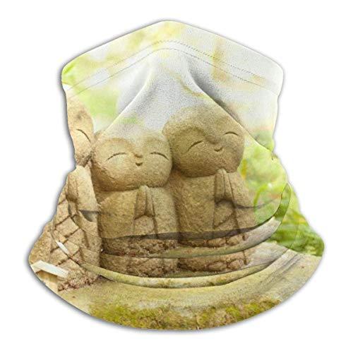 ASDAH Warme hals Gamas, gezichtsmasker, bivakmuts, boeddhabeeld voor tuin, mos, steen, bladeren, religie, zenstemming.