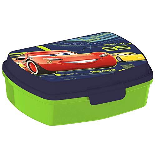 Porta merenda in plastica alimentare verde e blu da bambino con stampa Cars licenza Disney.Utilissimo porta colazione e merenda per la scuola o da viaggio in plastica atossica.